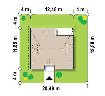 Традиционный дом с мансардой, с большим углом наклона крыши. план помещений 1