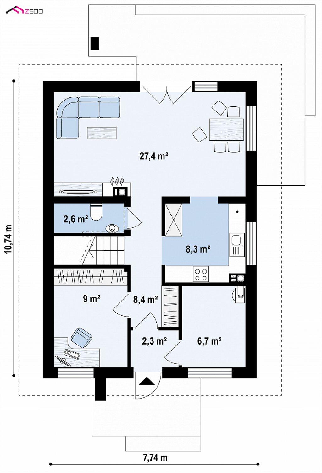 Проект мансардного дома с 4 спальнями и кабинетом. план помещений 1
