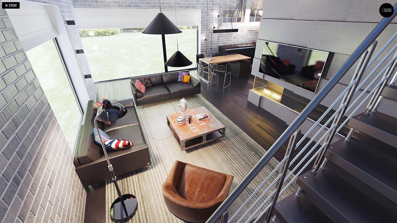 Современный элегантный дом с гостиной с фронтальной стороны. - фото 7