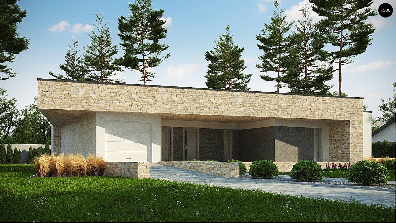 Одноэтажный коттедж с гаражом на одну машину и уютной террасой 1
