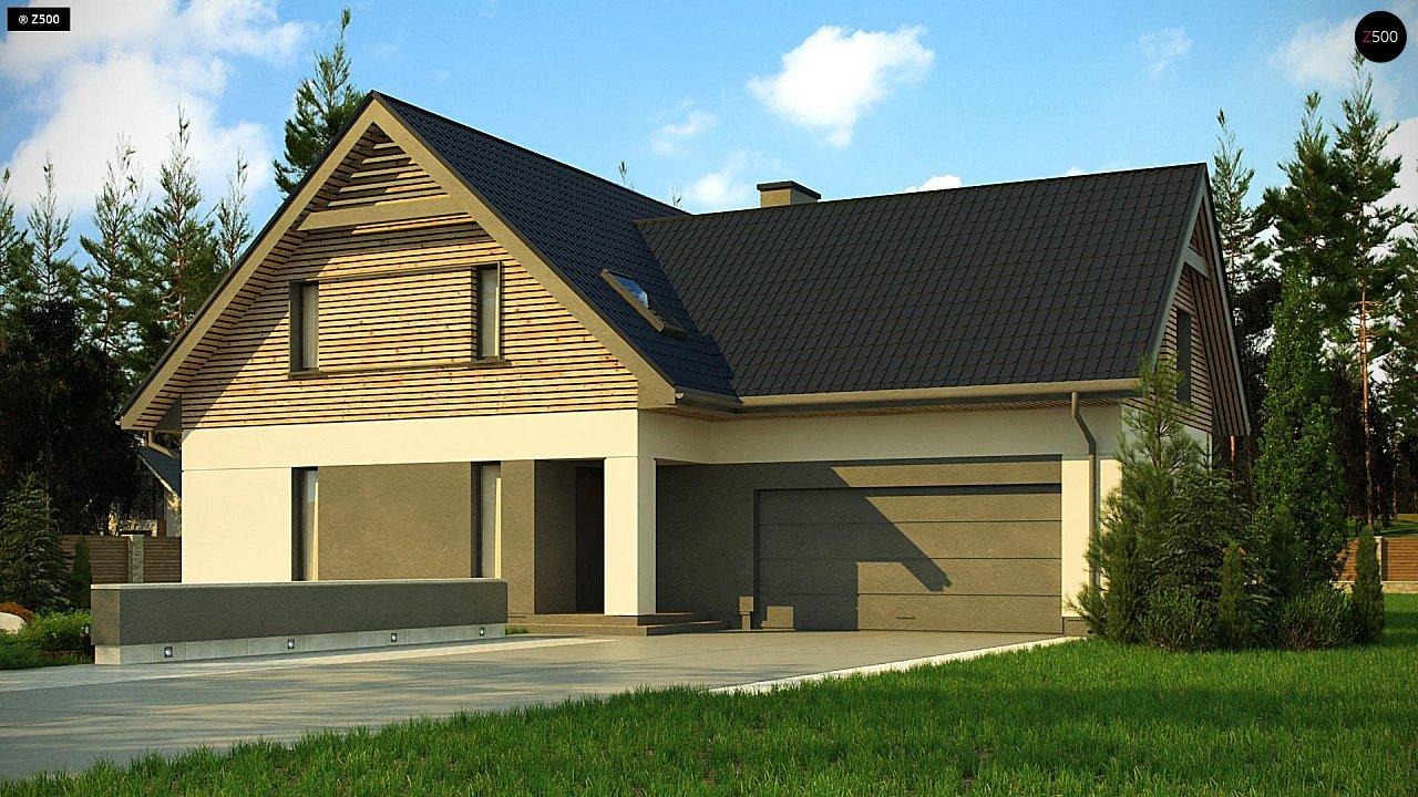Стильный и аккуратный мансардный дом с гаражом для двух машин. 1