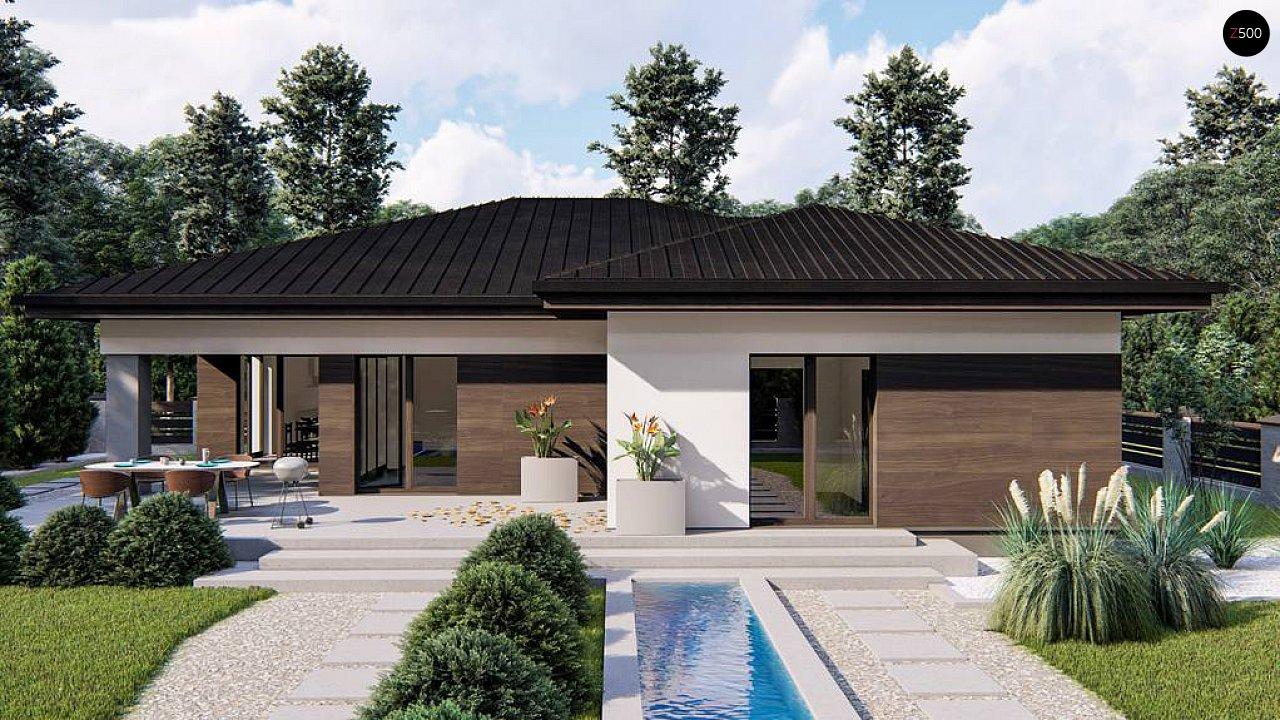 Современный одноэтажный дом с многоскатной крышей и гаражом на две машины. 4