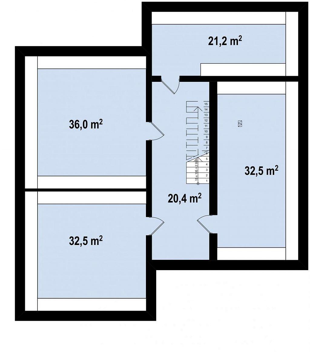 Респектабельный большой дом в модернистском стиле с подвалом. план помещений 1
