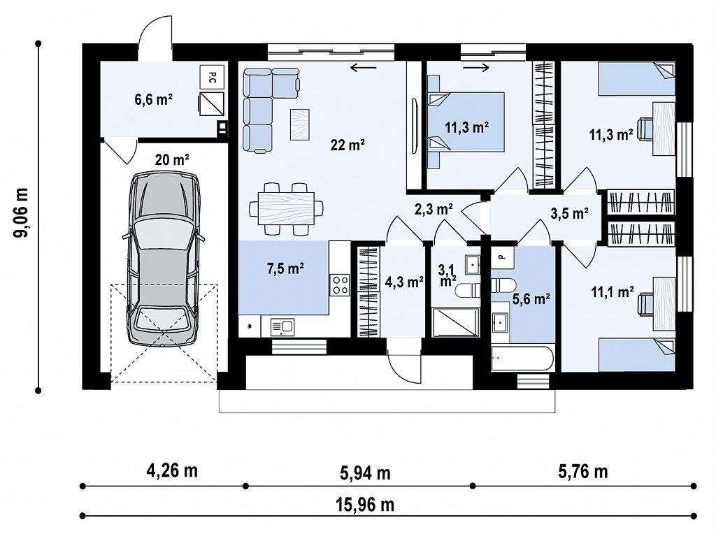 Современный одноэтажный дом с гаражом на одну машину, расположенным с левой стороны здания. план помещений 1