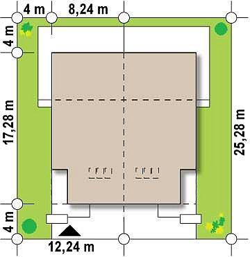 Дома для симметричной застройки с гаражом оригинального современного дизайна. план помещений 1