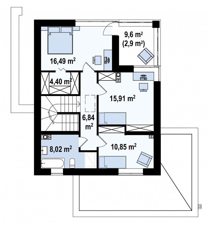 Уменьшенная версия проекта z156 с гаражем и стильным фасадом план помещений 2