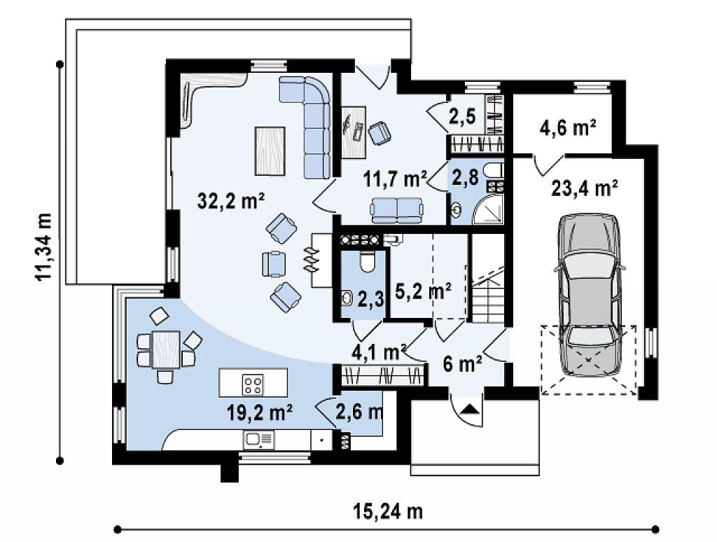 Просторный дом современного дизайна с гаражом и кабинетом на первом этаже. план помещений 1