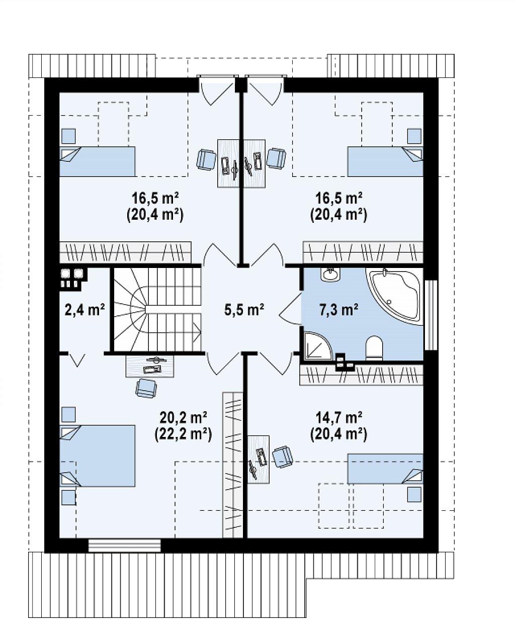 Дом традиционной формы с элегантными современными элементами в архитектуре. план помещений 2
