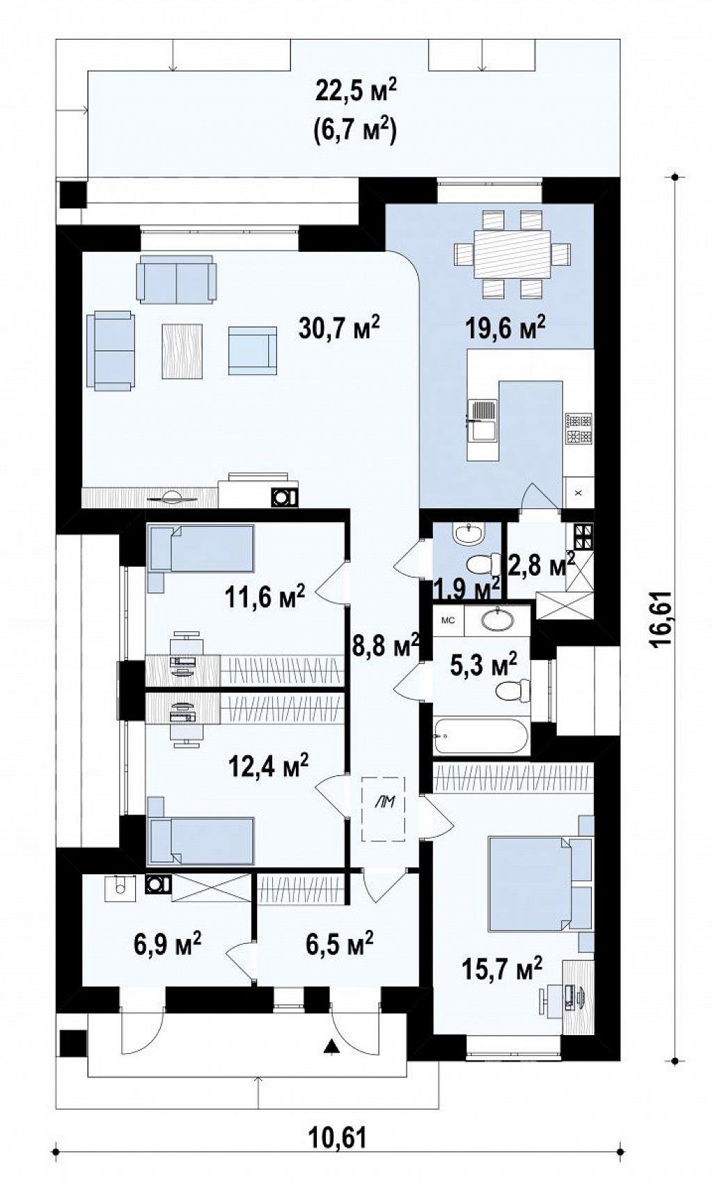 Красивый одноэтажный дом с удобной планировкой план помещений 1