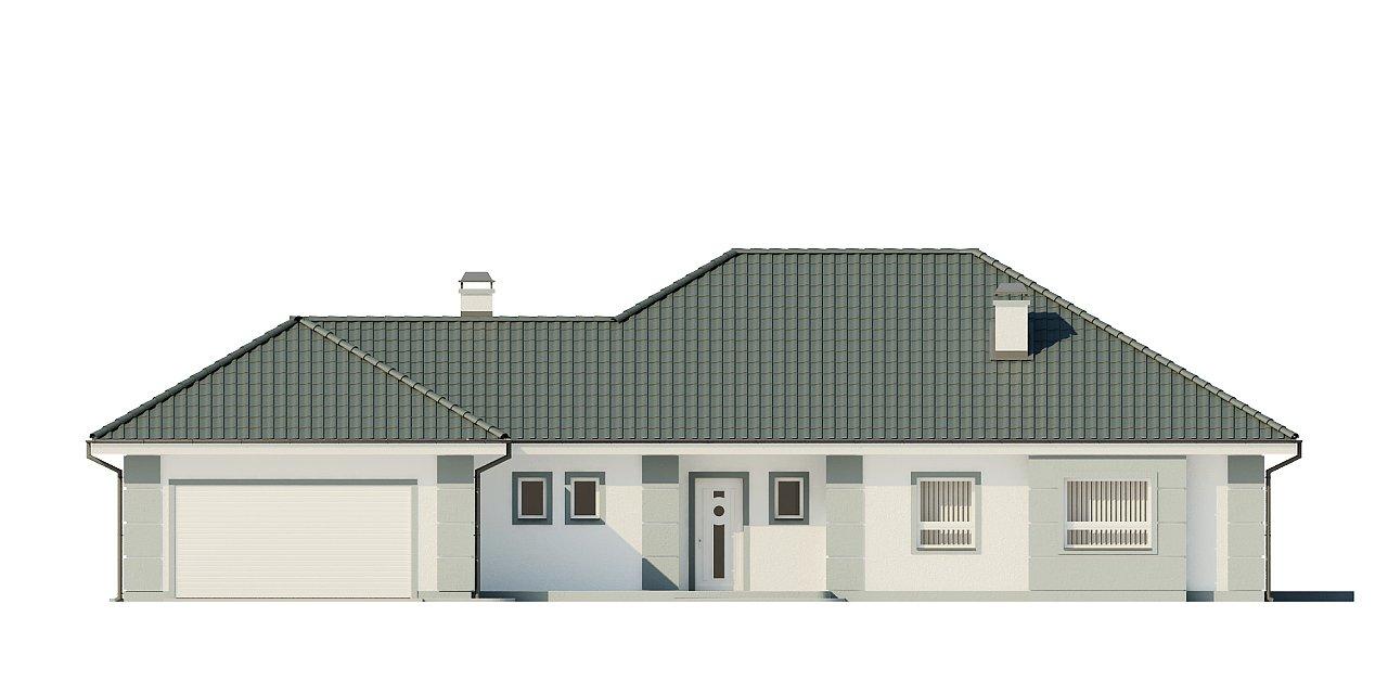 Проект одноэтажного дома с просторной гостиной и гаражом для двух машин. 3