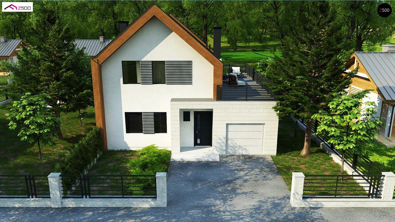 Современный дом с двускатной крышей и гаражом для одного пользователя 6