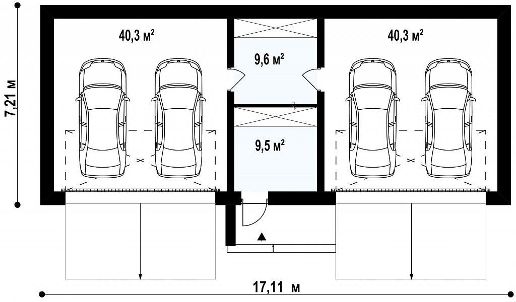 Большой стильный гараж для 4х автомобилей план помещений 1