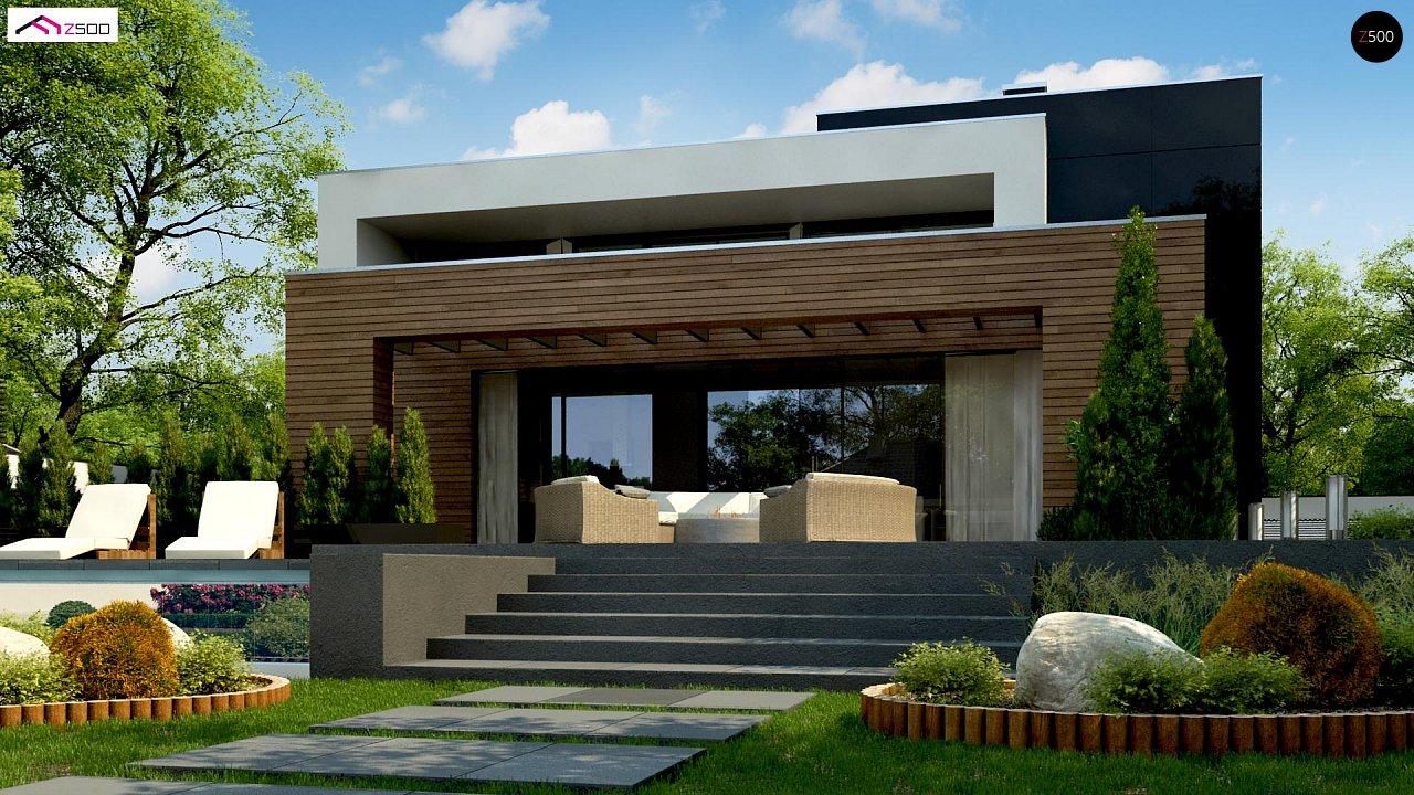 Двухэтажный коттедж с плоской крышей и большой террасой 6