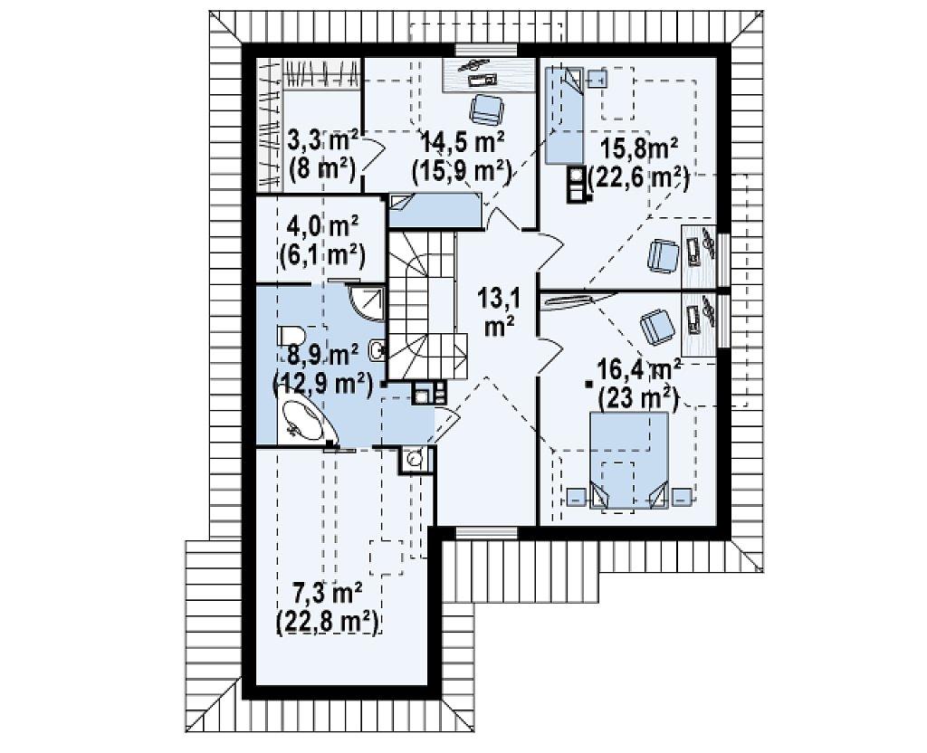 Проект просторного и уютного дома с гаражом, эркером, красивыми мансардными окнами. план помещений 2