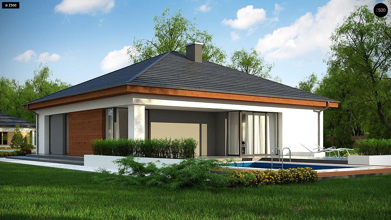 Проект комфортного одноэтажного дома с гаражом для двух авто. 4
