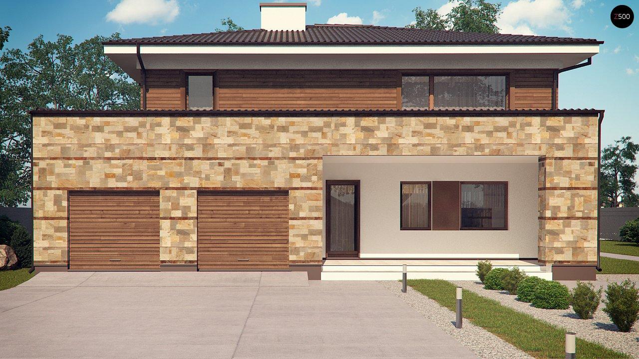 Проект двухэтажного дома с гаражом для двух авто, с баней - фото 2
