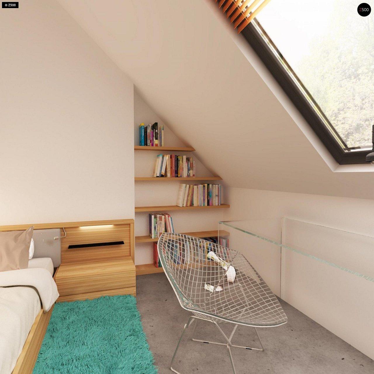 Проект практичного дома с эркером и гаражом на одну машину. 16