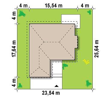 Функциональный одноэтажный дом с фронтальным гаражом для двух авто, большим хозяйственным помещением, с кухней со стороны сада. план помещений 1