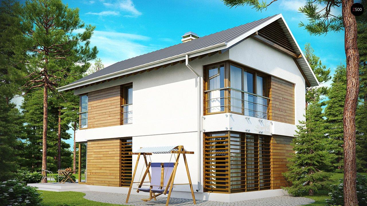 Компактный двухэтажный дом с большими окнами, подходящий для узкого участка. 1