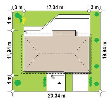 Проект одноэтажного дома с гаражом, с четко выделенной приватной зоной. план помещений 1