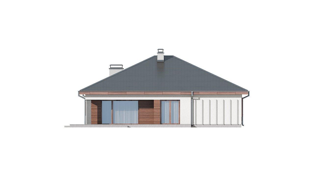 Проект одноэтажного дома с многоскатной кровлей, с фронтальным гаражом. - фото 15