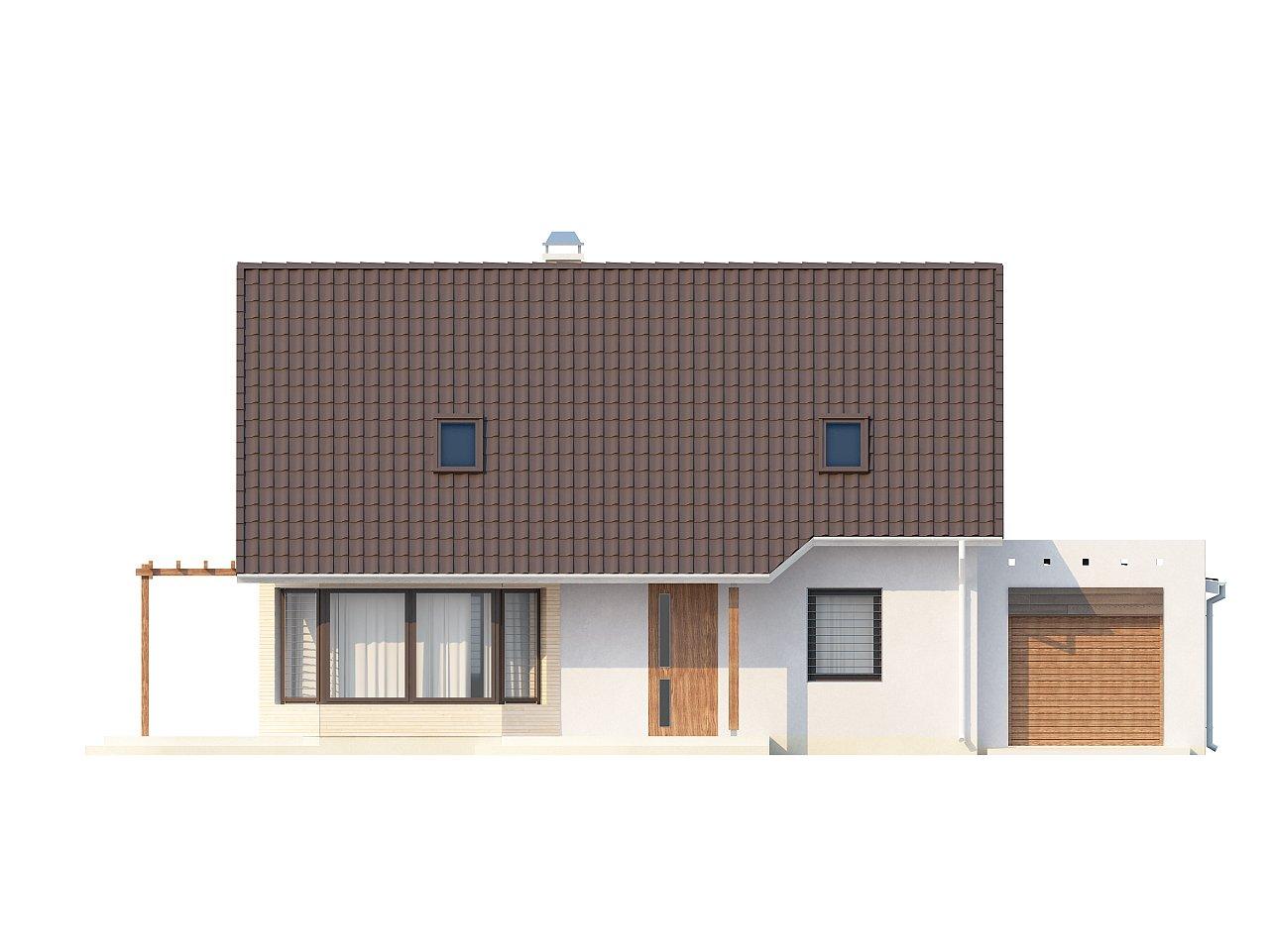 Проект дома с гостиной со стороны входа, боковой террасой и дополнительной спальней на первом этаже. 3