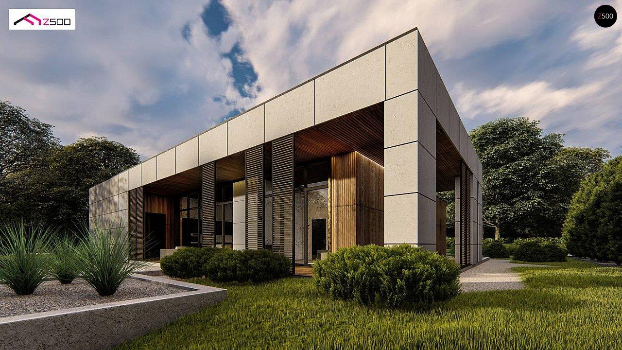 Современный одноэтажный дом c плоской кровлей и просторным гаражом для двух автомобилей. 4