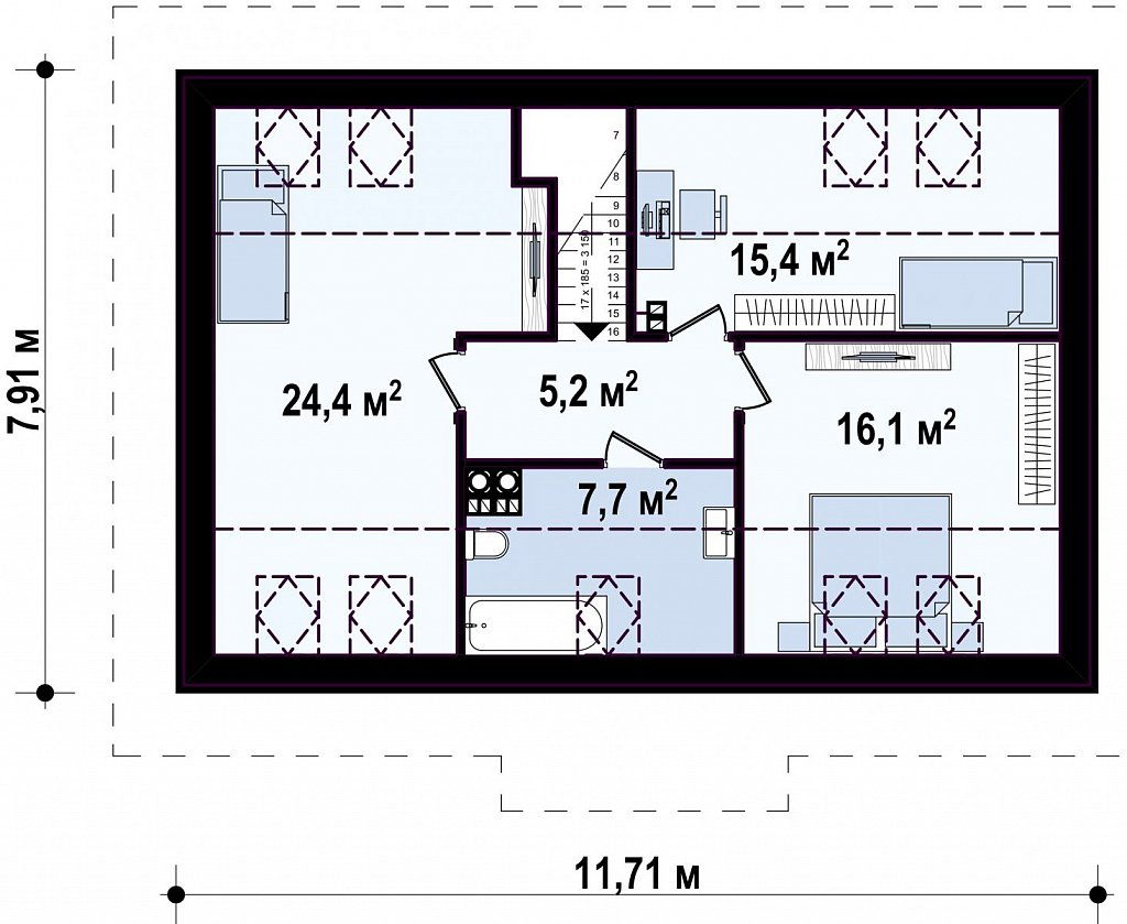 Компактный дом с мансардой и большой террасой на первом этаже план помещений 2