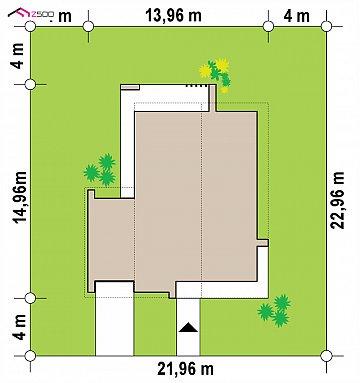 Современный одноэтажный дом с двускатной крышей и большой террасой план помещений 1