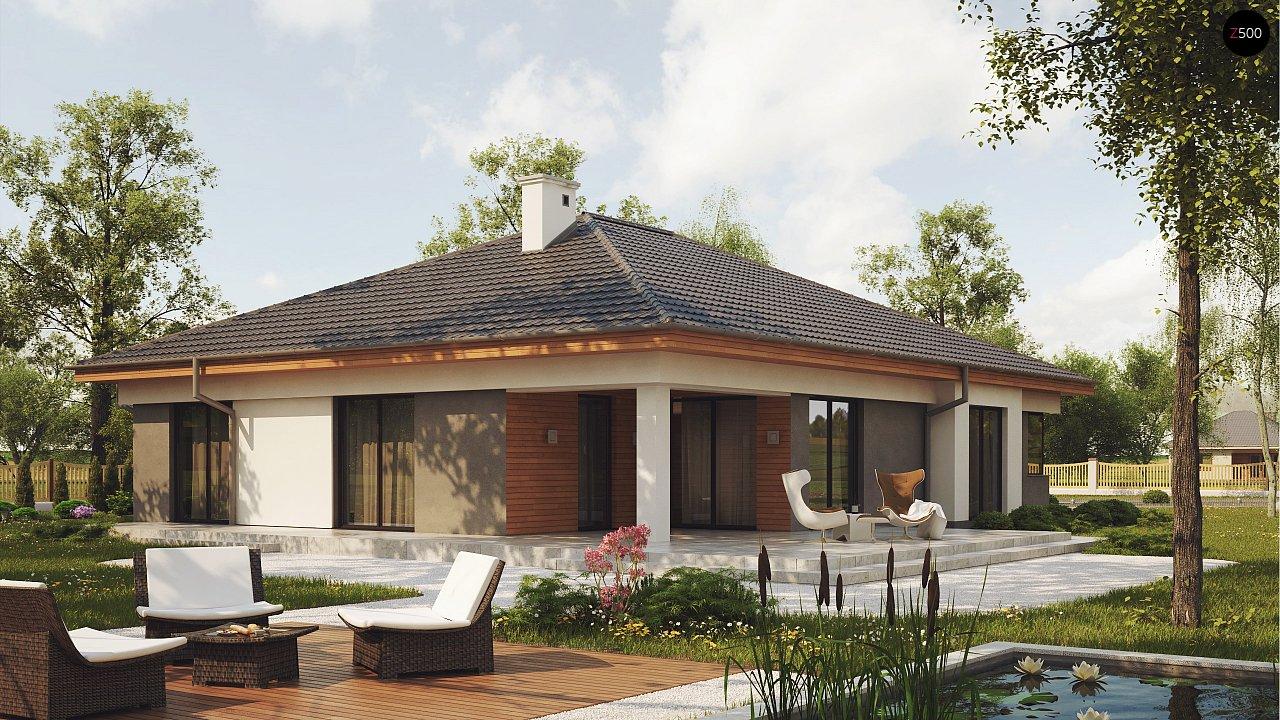 Одноэтажный просторный дом с эркером и крытой террасой. 2