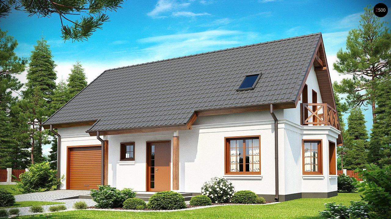 Элегантный дом простой формы со встроенным гаражом, эркером и балконом над ним. 1