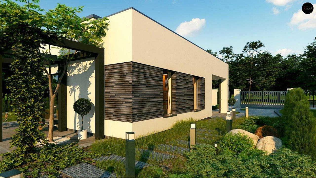 Небольшой современный одноэтажный проект дома с плоской кровлей - фото 5