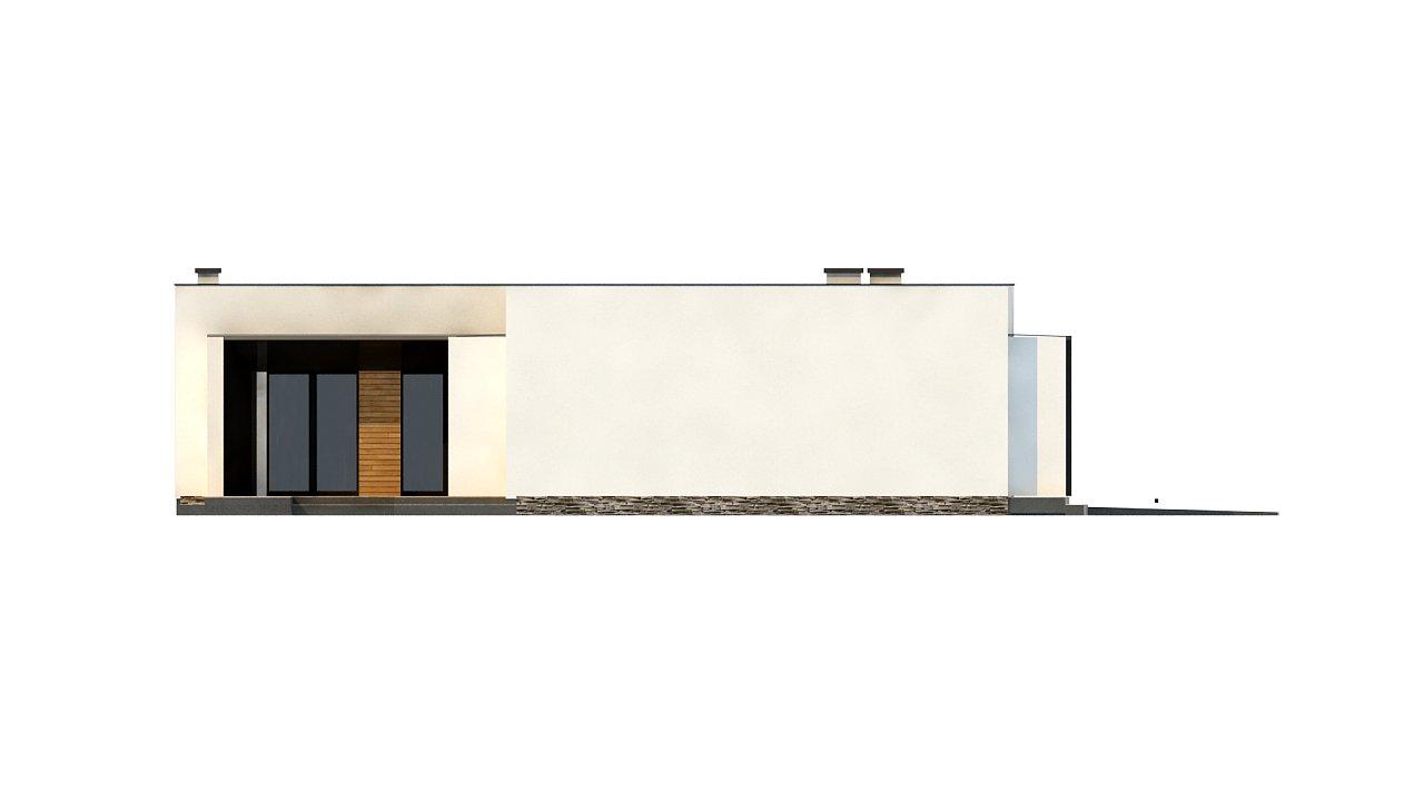 Современный одноэтажный дом с плоской крышей и гаражом на один автомобиль. - фото 8