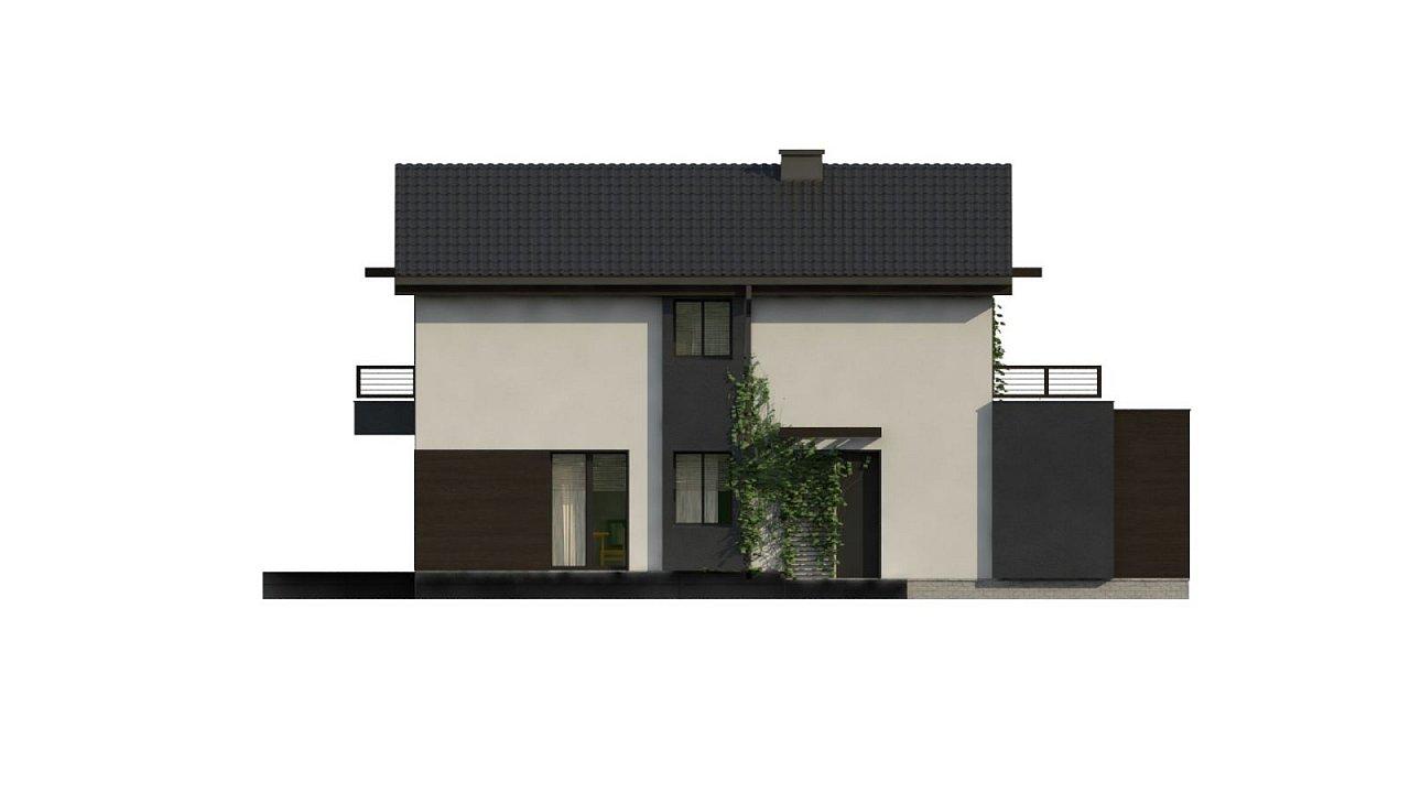 Проект двухэтажного дома в современном стиле, подойдет для строительства на узком участке. - фото 9