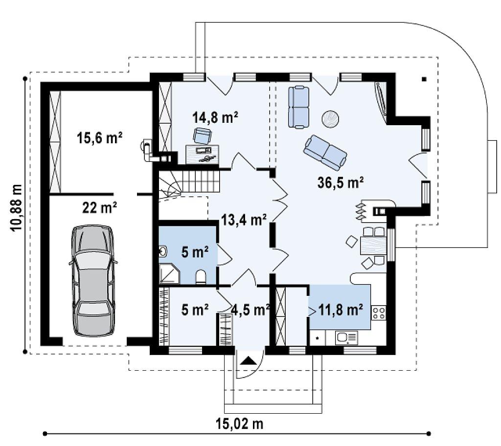 Проект мансардного дома - вариант Z63 c внесенными изменениями в планировку и гаражом для 1 авто план помещений 1