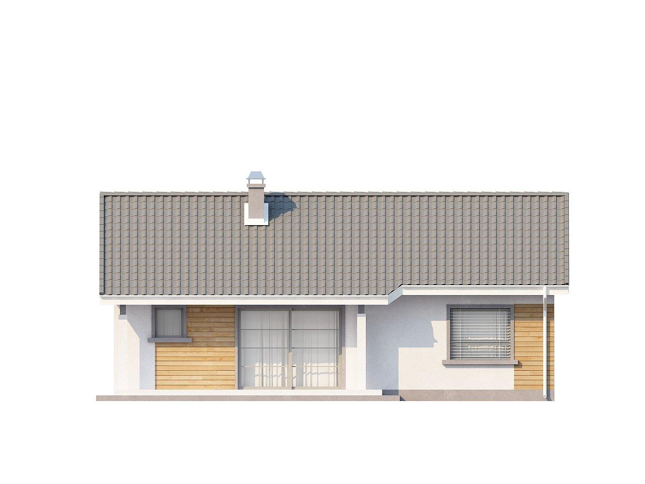 Выгодный компактный одноэтажный дом с угловым окном в кухне. 15