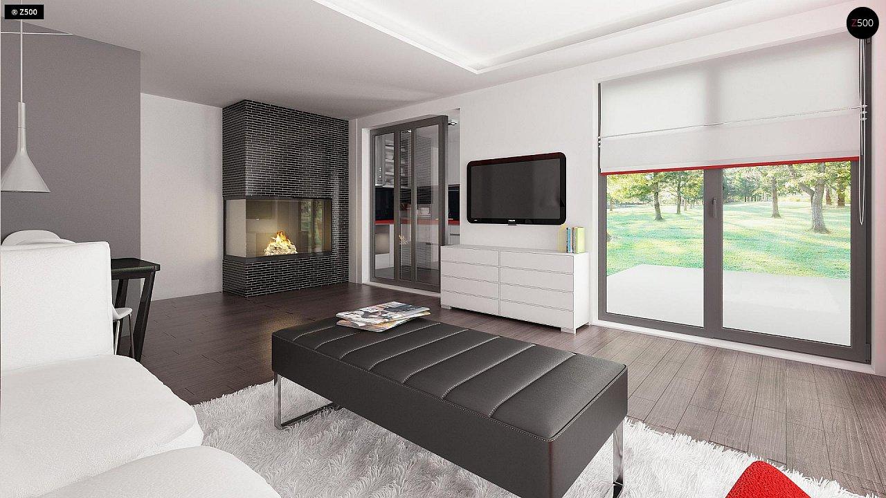 Современный одноэтажный дом хай-тек с навесом для автомобиля 13