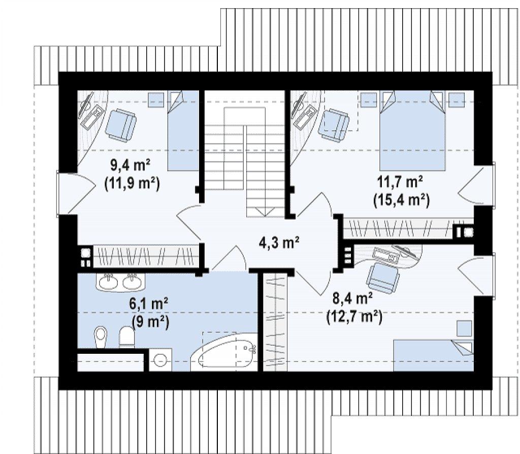 Вариант проекта Z210 с увеличенной площадью котельной. план помещений 2