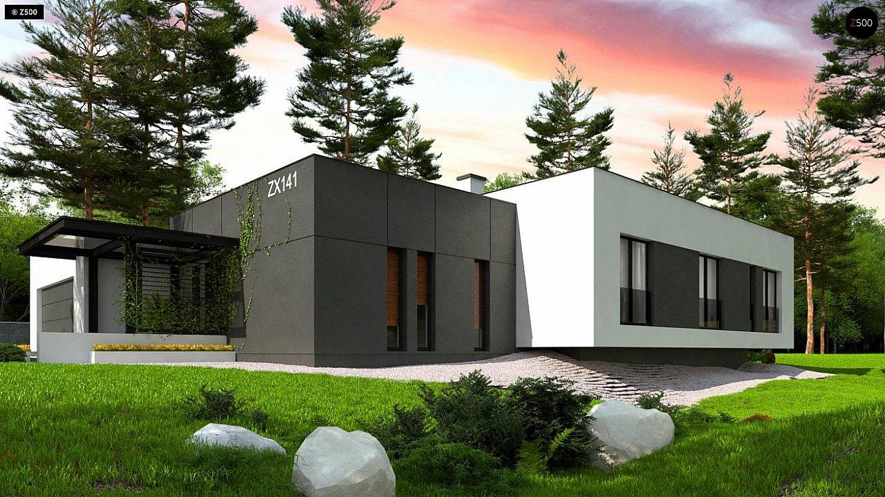 Одноэтажный дом с плоской кровлей адаптированный под строительство в сейсмических районах 5