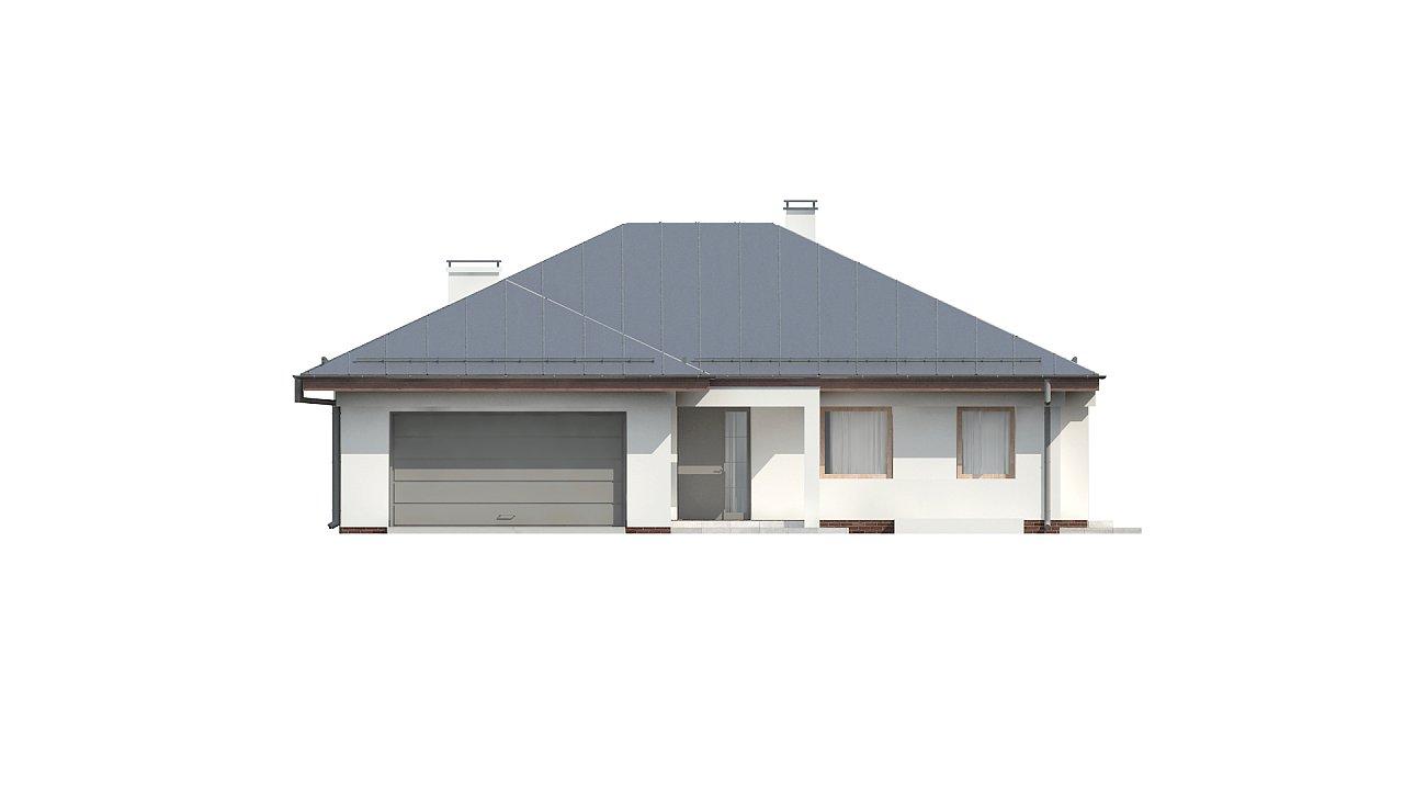 Функциональный одноэтажный дом с фронтальным гаражом для двух авто, большим хозяйственным помещением, с кухней со стороны сада. 23