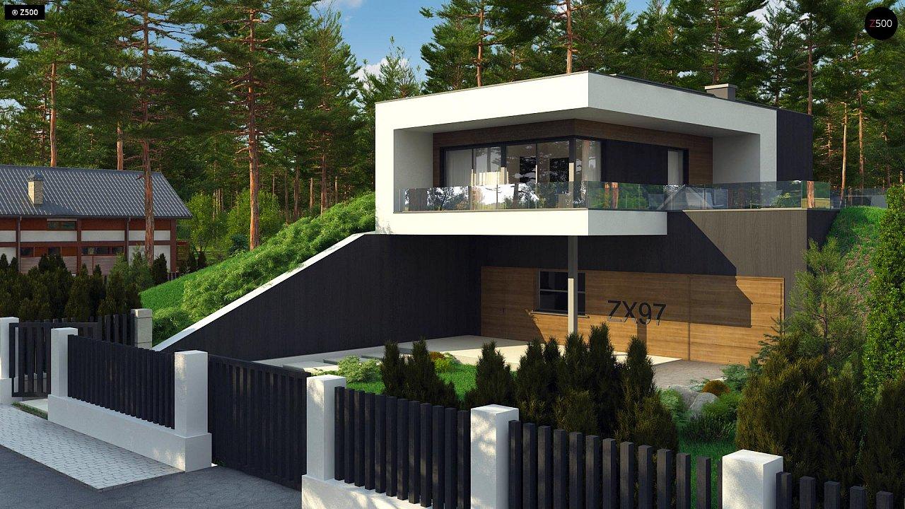 Проект современного двухэтажного дома. Проект подойдет для строительства на участке со склоном. - фото 2