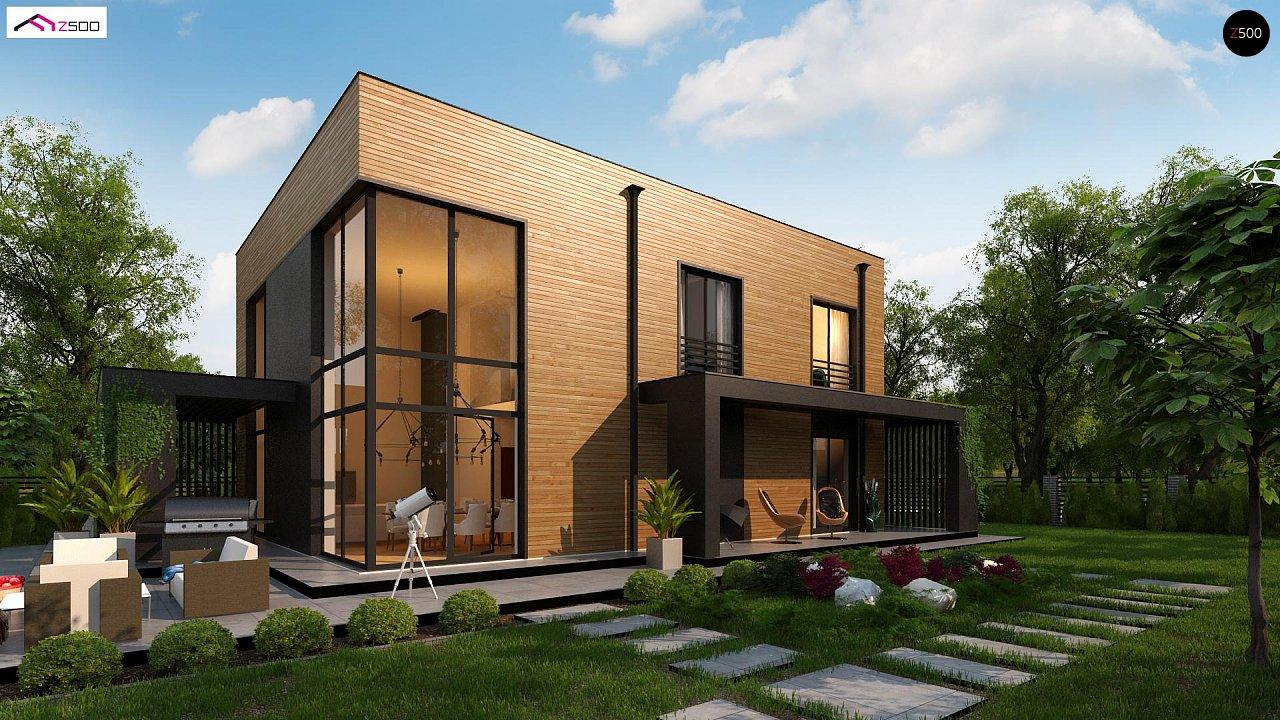 Проект современного двухэтажного дома с вторым светом и большой площадью остекления. - фото 1