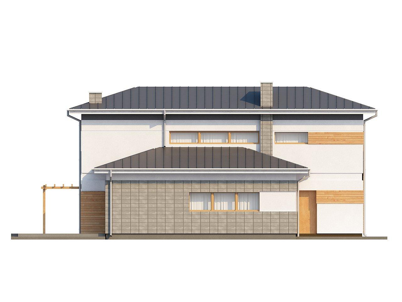 Проект удобного двухэтажного дома в стиле модерн с боковым гаражом. 6