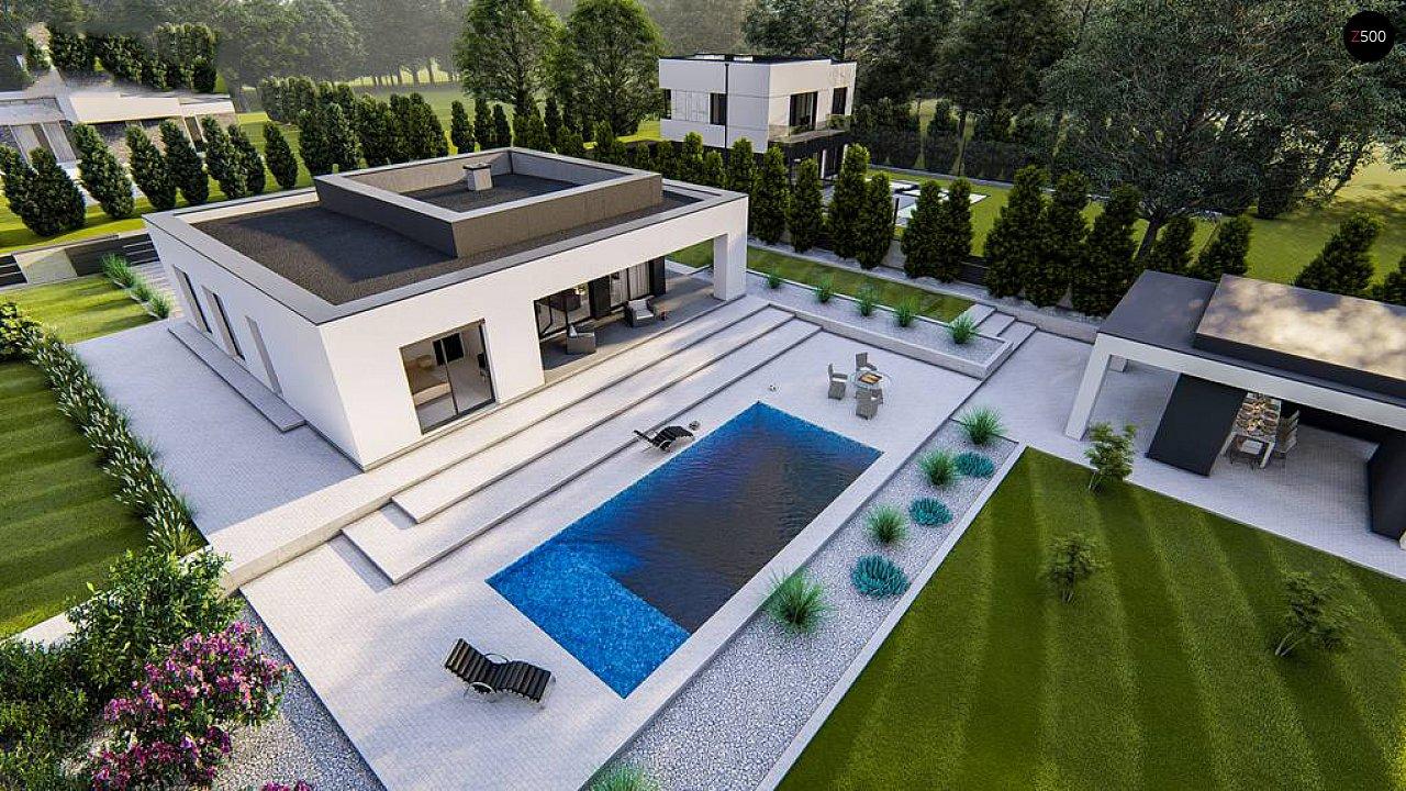 Одноэтажный, современный дом с плоской крышей 3