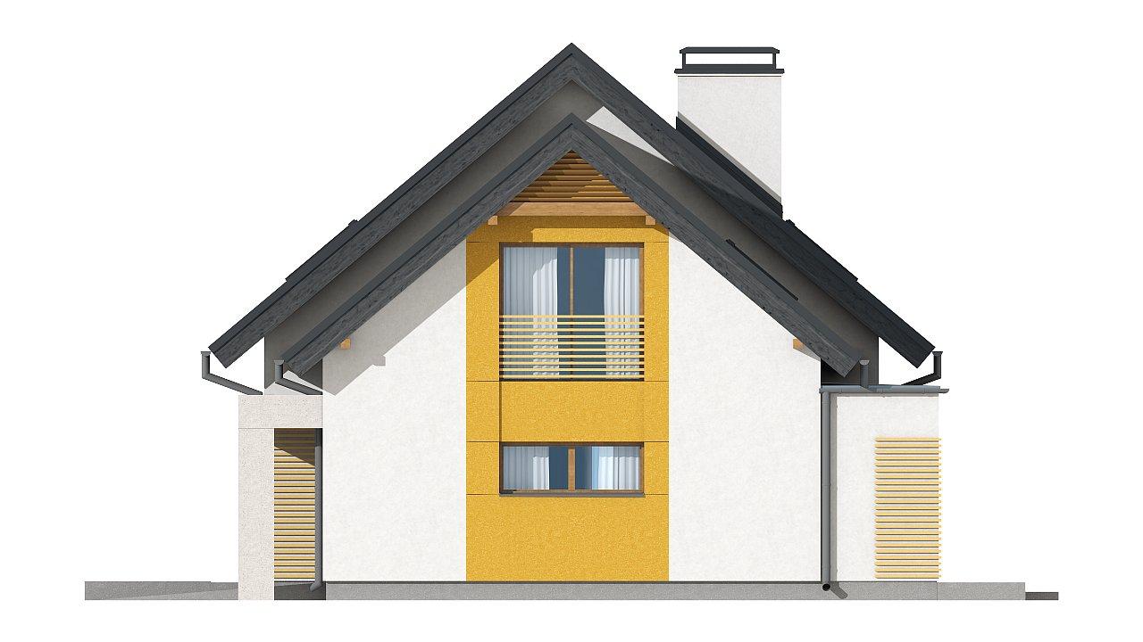 Проект аккуратного мансардного дома, с современным дизайном фасадов. 16