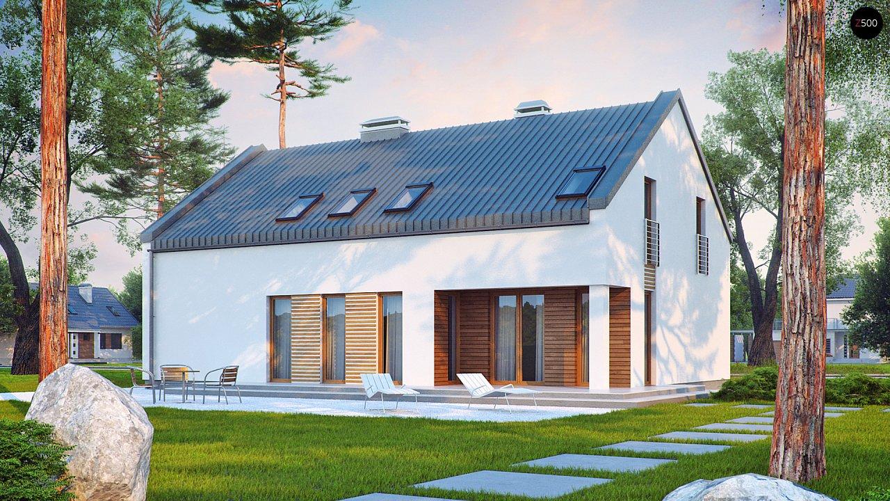 Аккуратный современный дом простой формы с оригинальной двускатной крышей. - фото 2