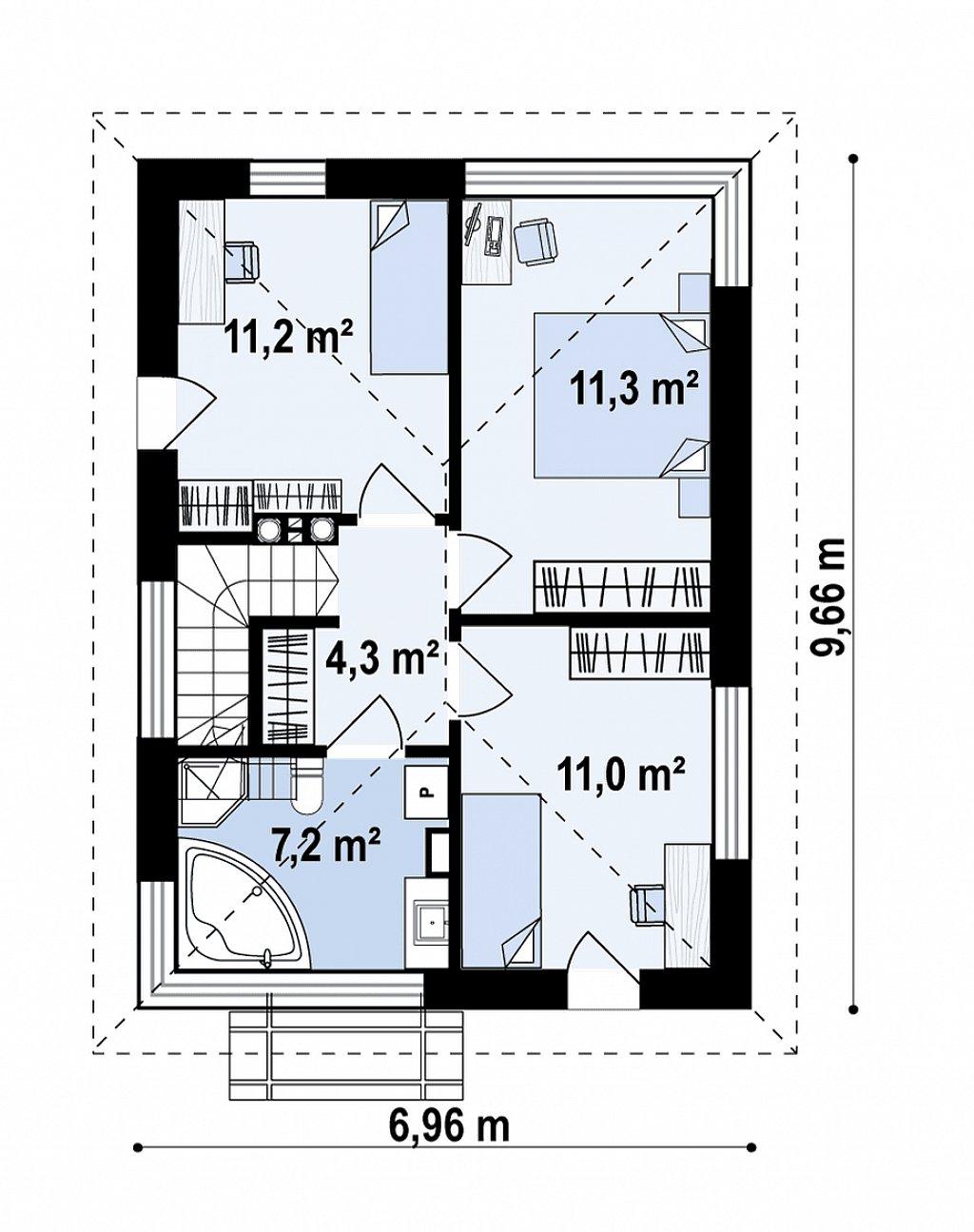 Современный проект дома с 3 спальнями план помещений 2