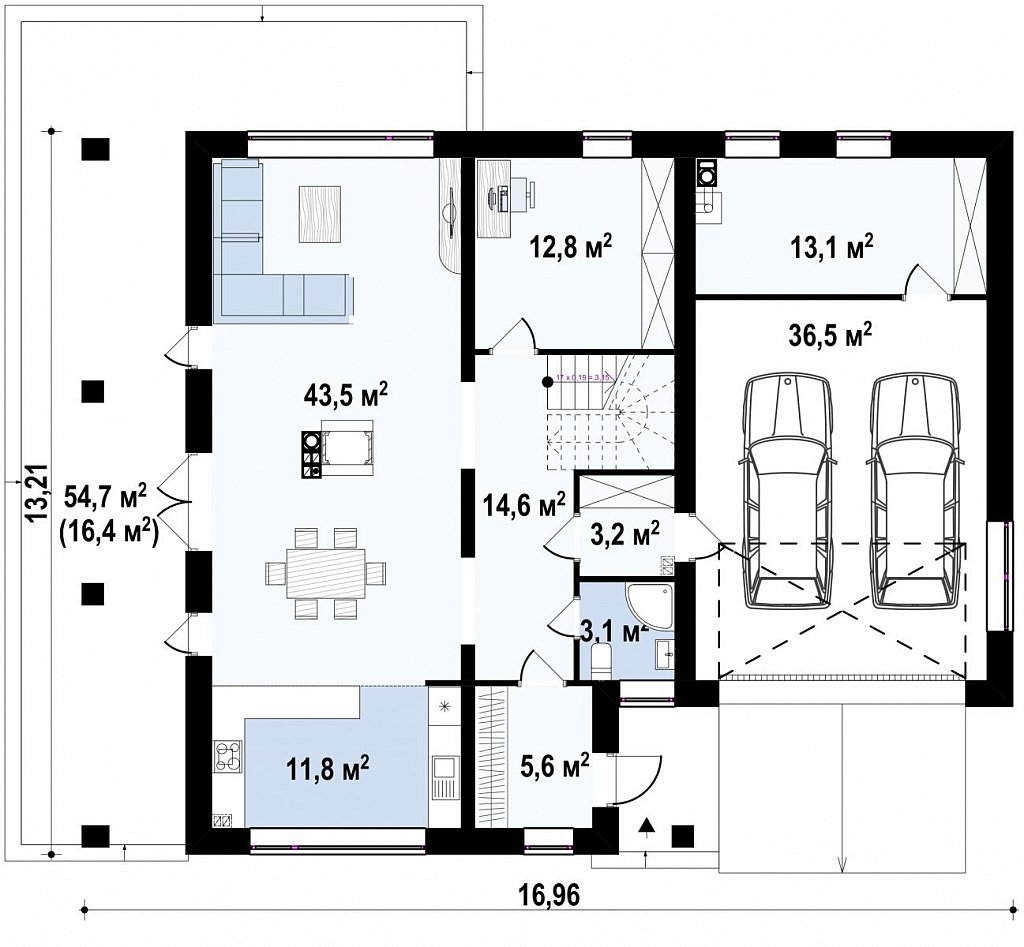 Практичный двухэтажный дом в современном стиле с обширной террасой над гаражом. план помещений 1