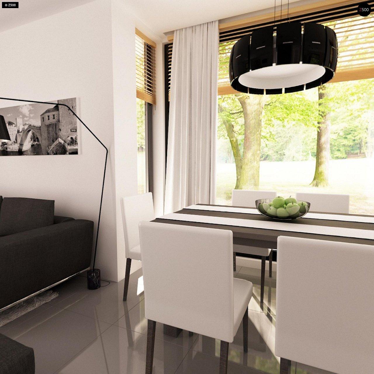 Проект функционального дома с эркером в столовой дополнительной спальней на первом этаже. 9