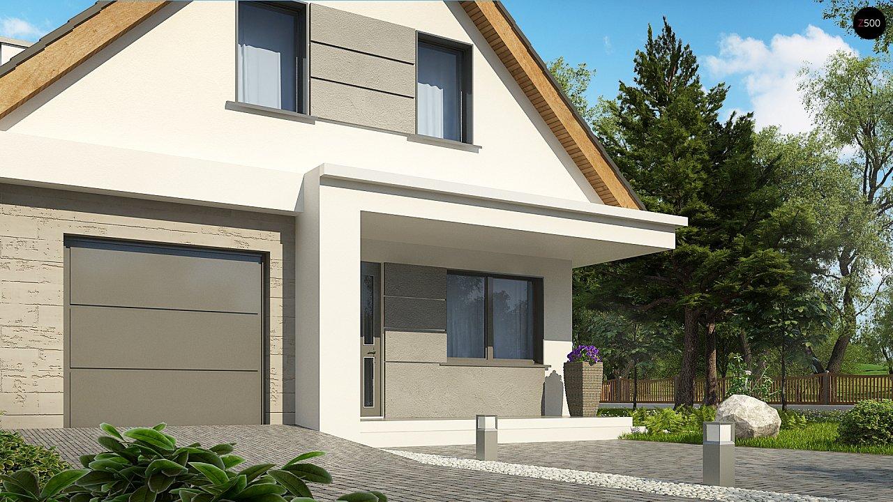 Проект классического мансардного дома с монохромным дизайном экстерьера 6